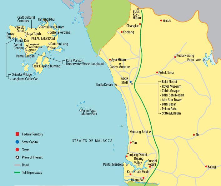 Island Of Langkawi And Kedah Mainland Travel Information - Alor setar map